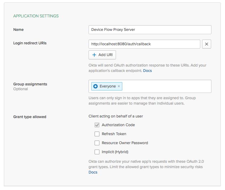 Set the application settings
