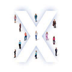 Group of people standing around the letter x