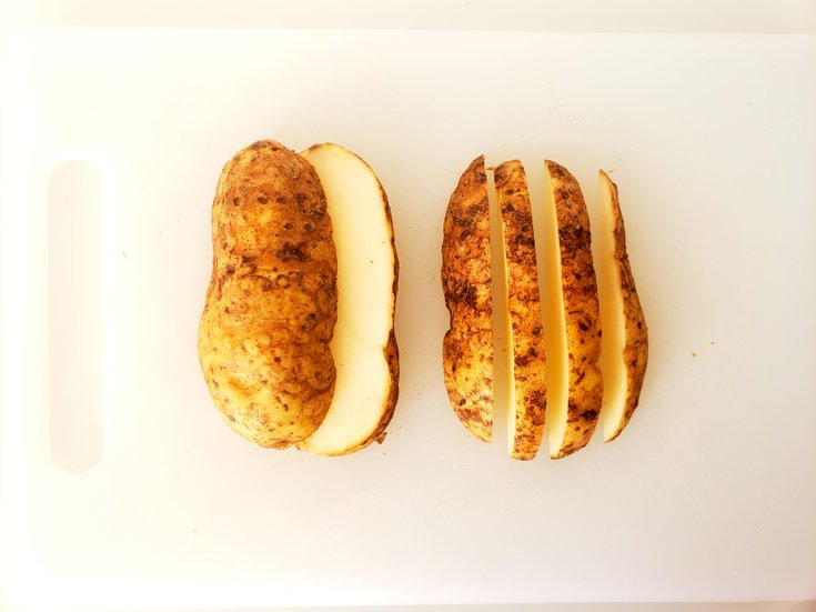 Potatoes Cut into Thick Fries