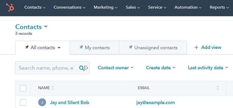 New contact automatically created in HubSpot CRM