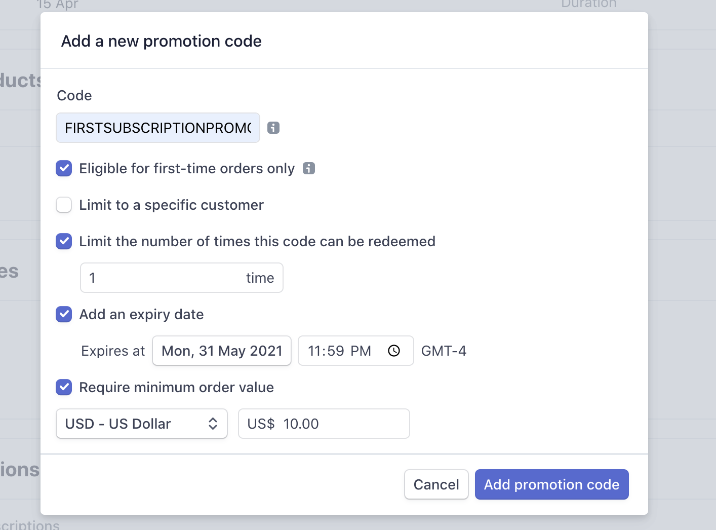 Create a Promotion Code