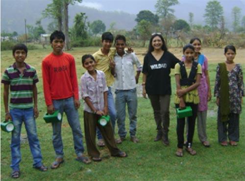Children of the village with solar lanterns
