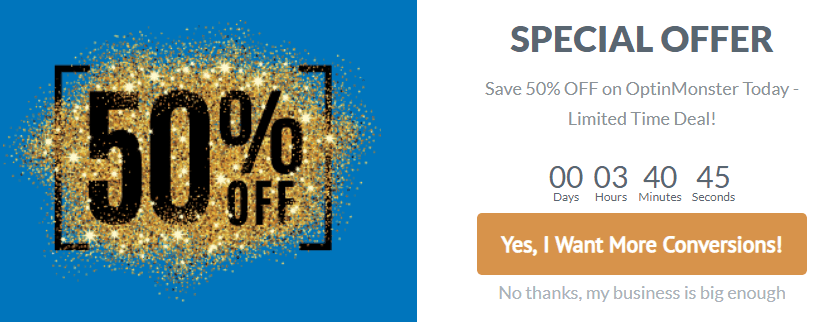 Special offer popup