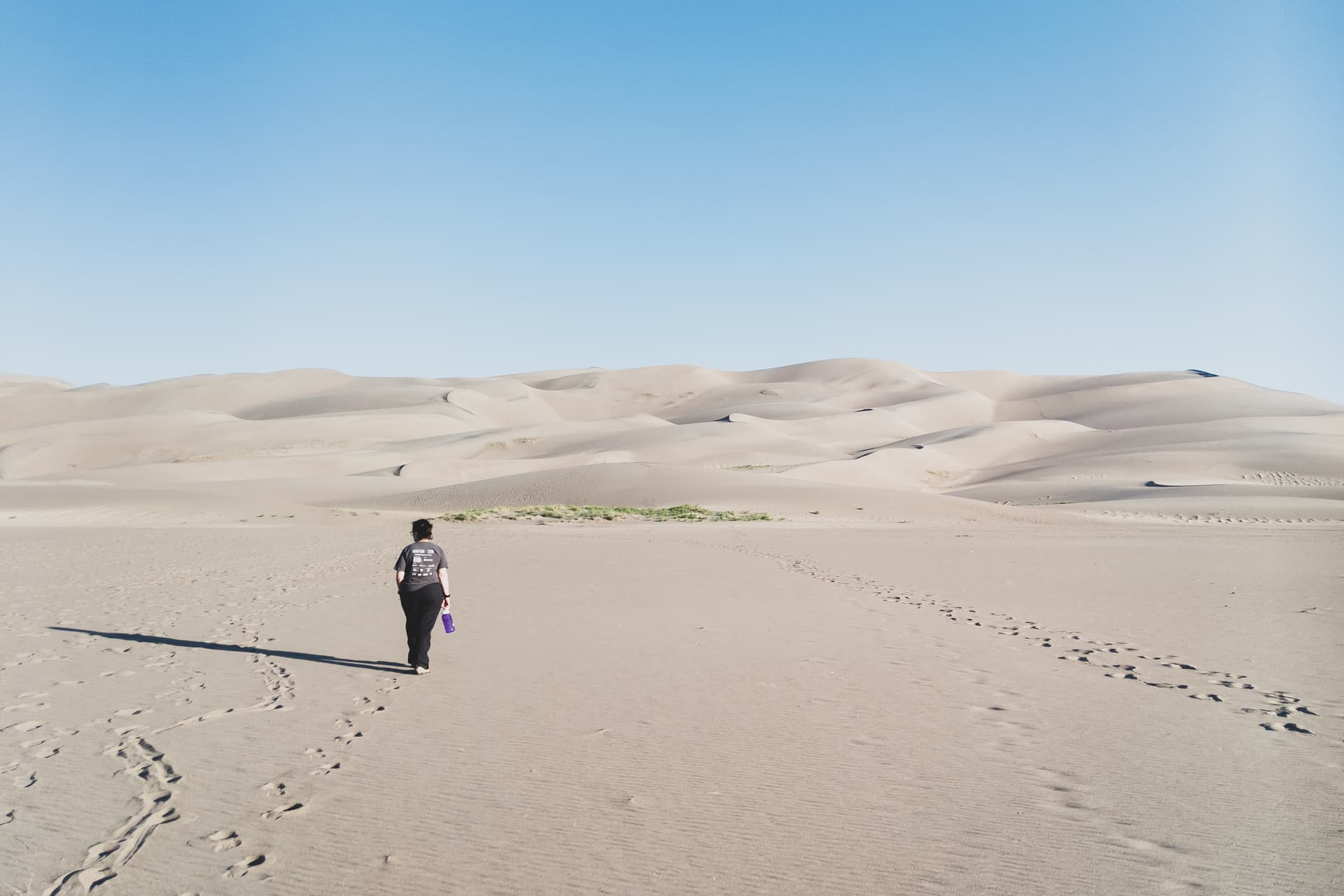 A woman in a gray shirt and black pants walks across a sand field towards a distant wall of high dunes.