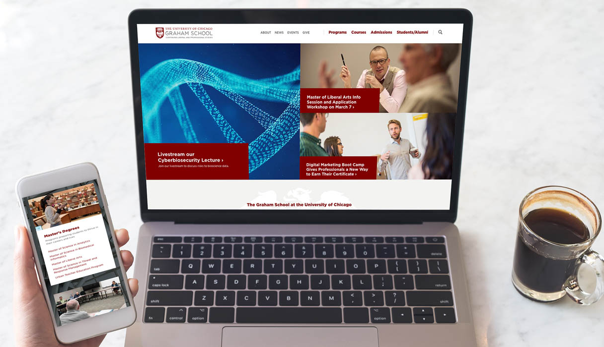 University of Chicago Graham School Home page on mobile and laptop screens