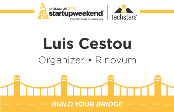 Startup Weekend badge front side