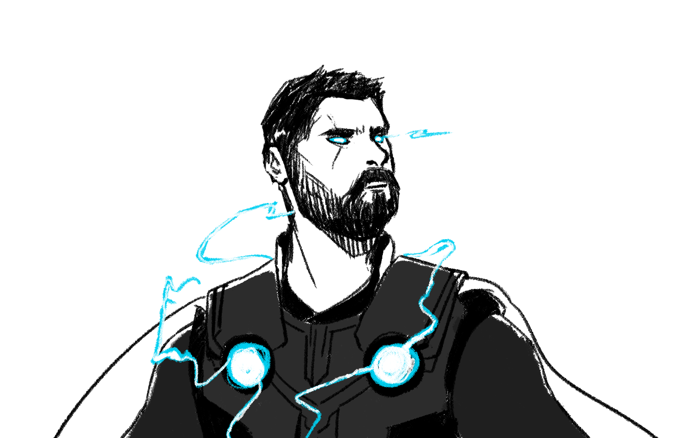 Thor with electricity glowing around him