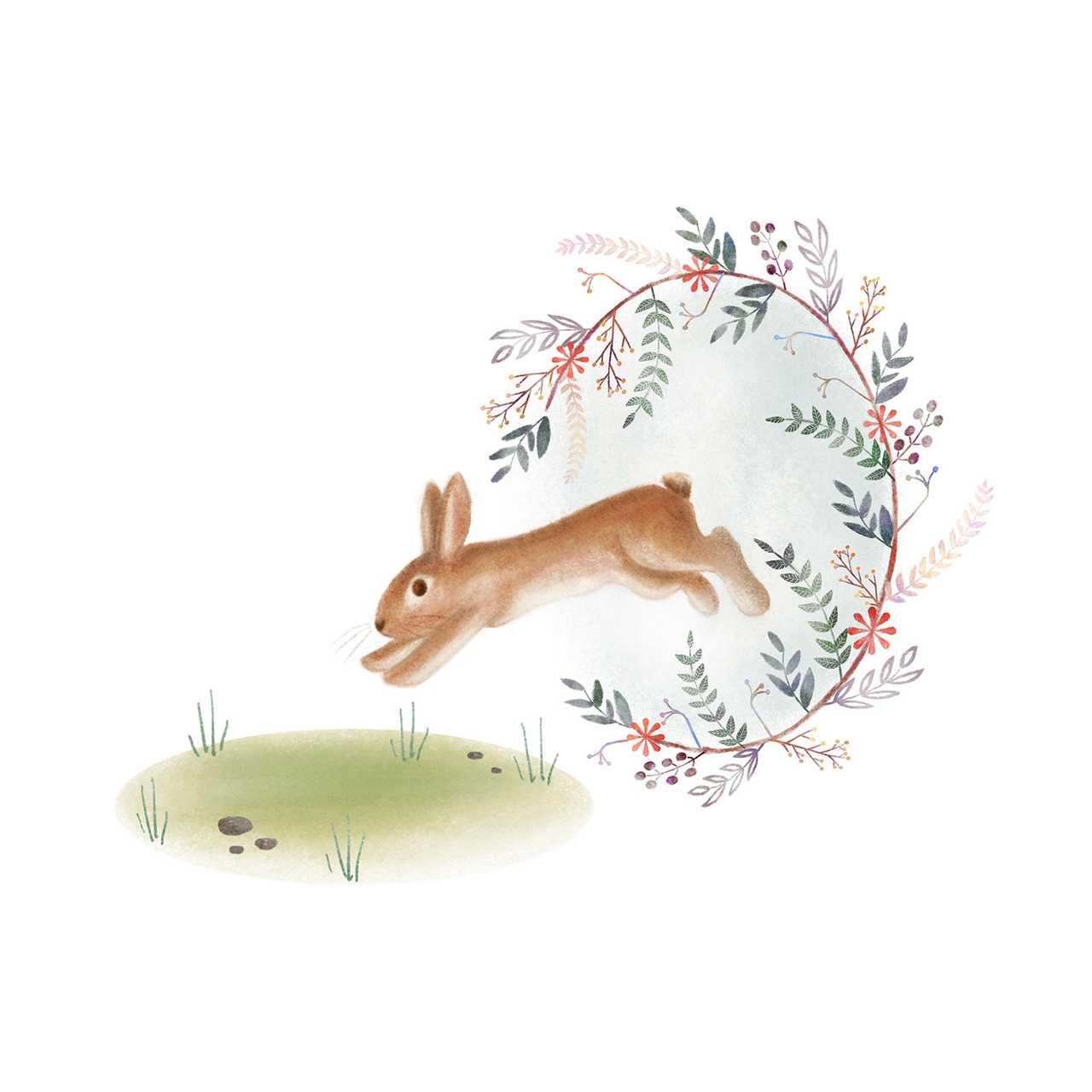 A rabbit jumping through a floral circle