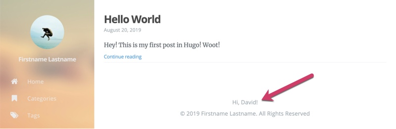Hugo Login with personalized message