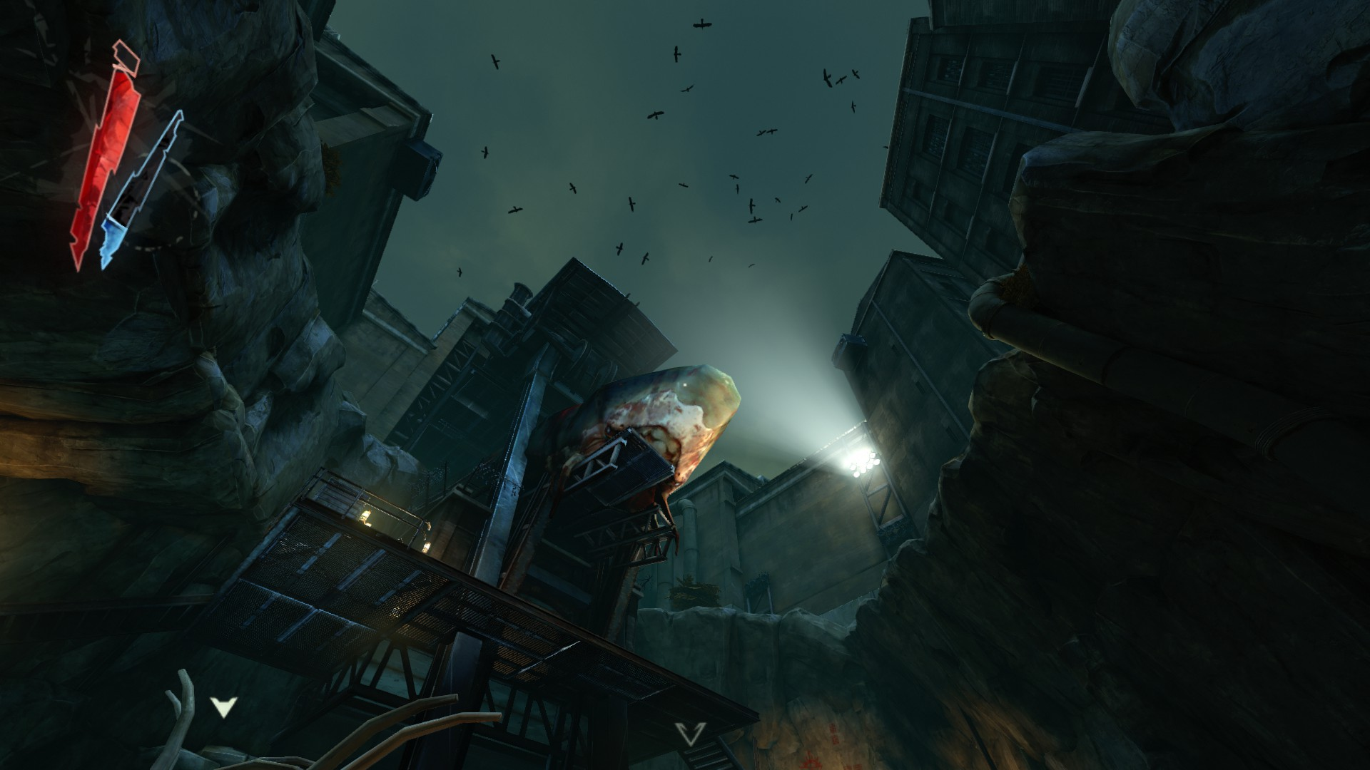 A huge whale corpse high above in a dark city.