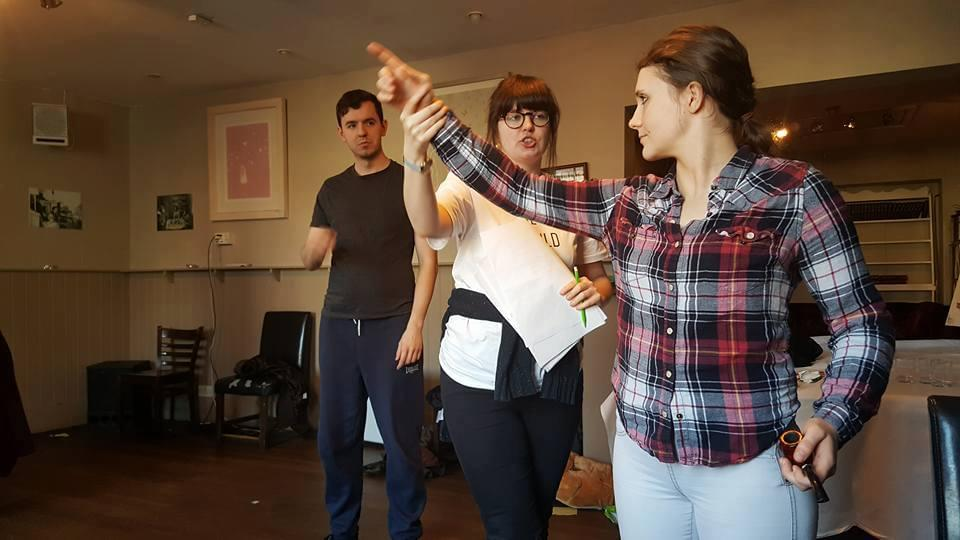 Joshua Phillips, Director Anna Marshall and Jasmine Atkins-Smart, rehearsing for The Accidental Adventures of Sherlock Holmes