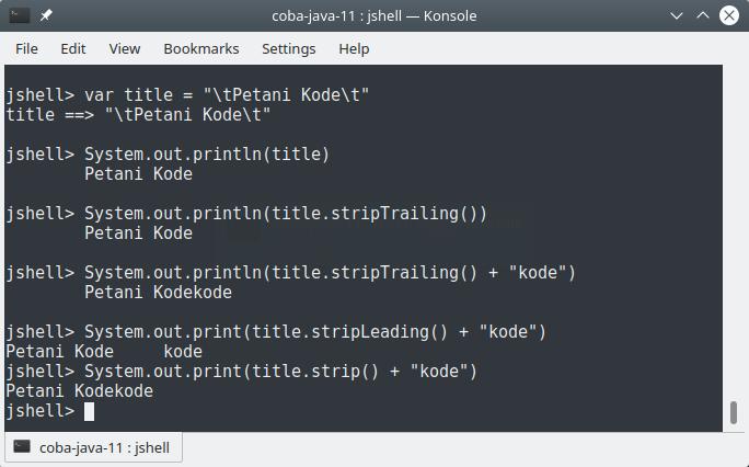 method strip pada Java