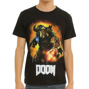Doom Cyberdemon Graphic Logo Black Crew Neck Print T-shirt