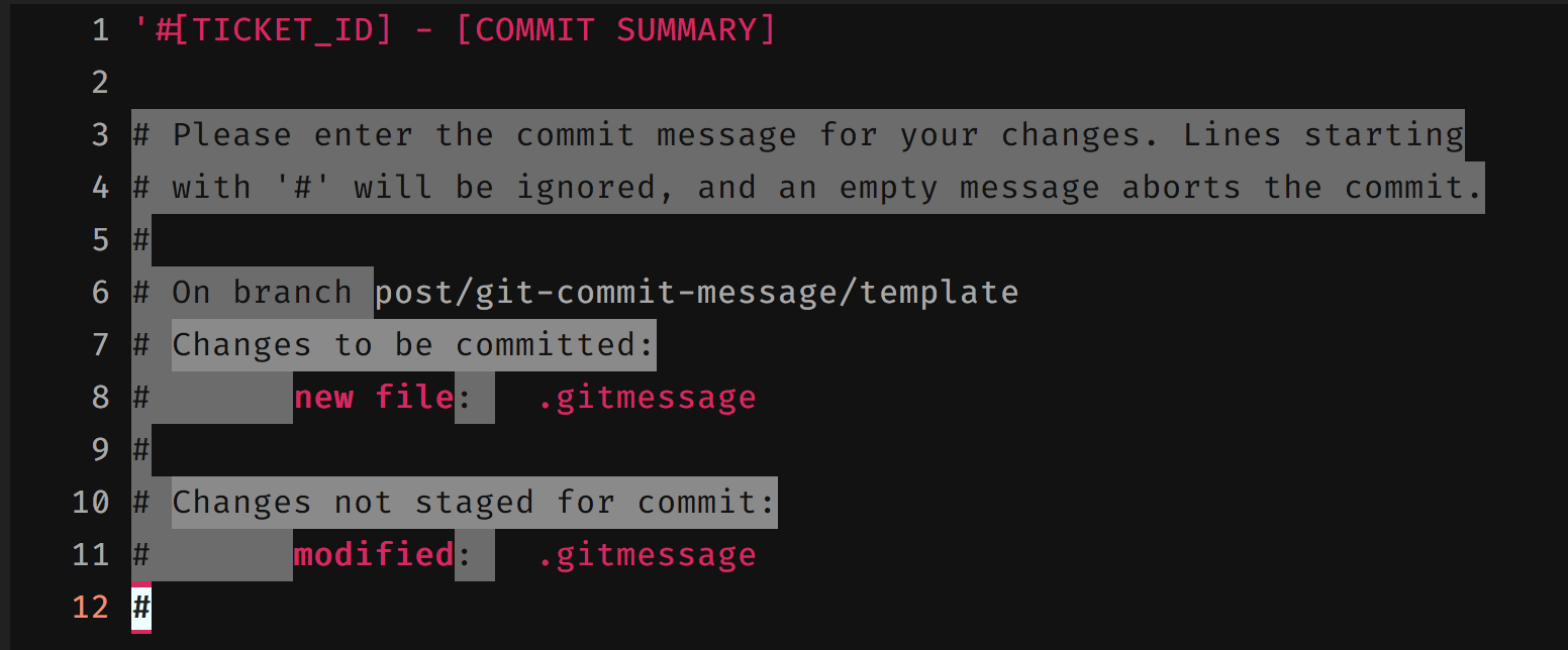 git commit with template