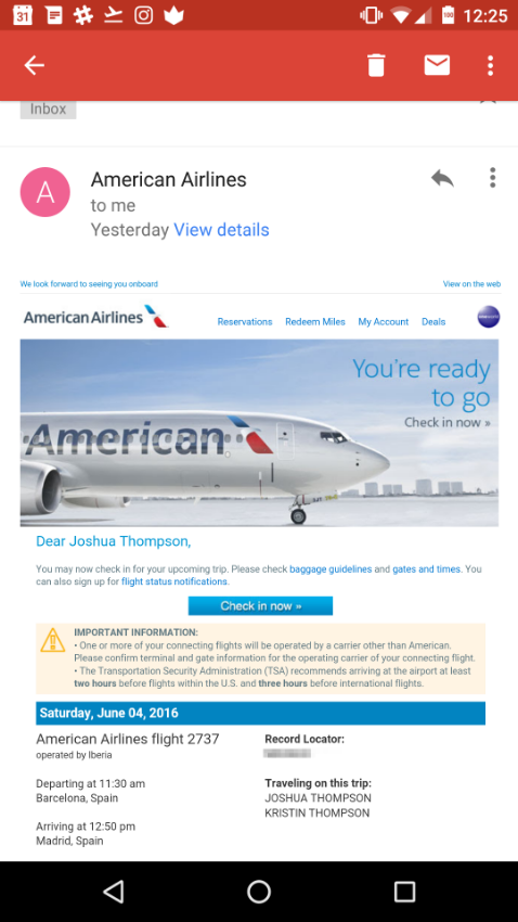 Email prompting me to check into my flight. Almost illegible because the text is so small.