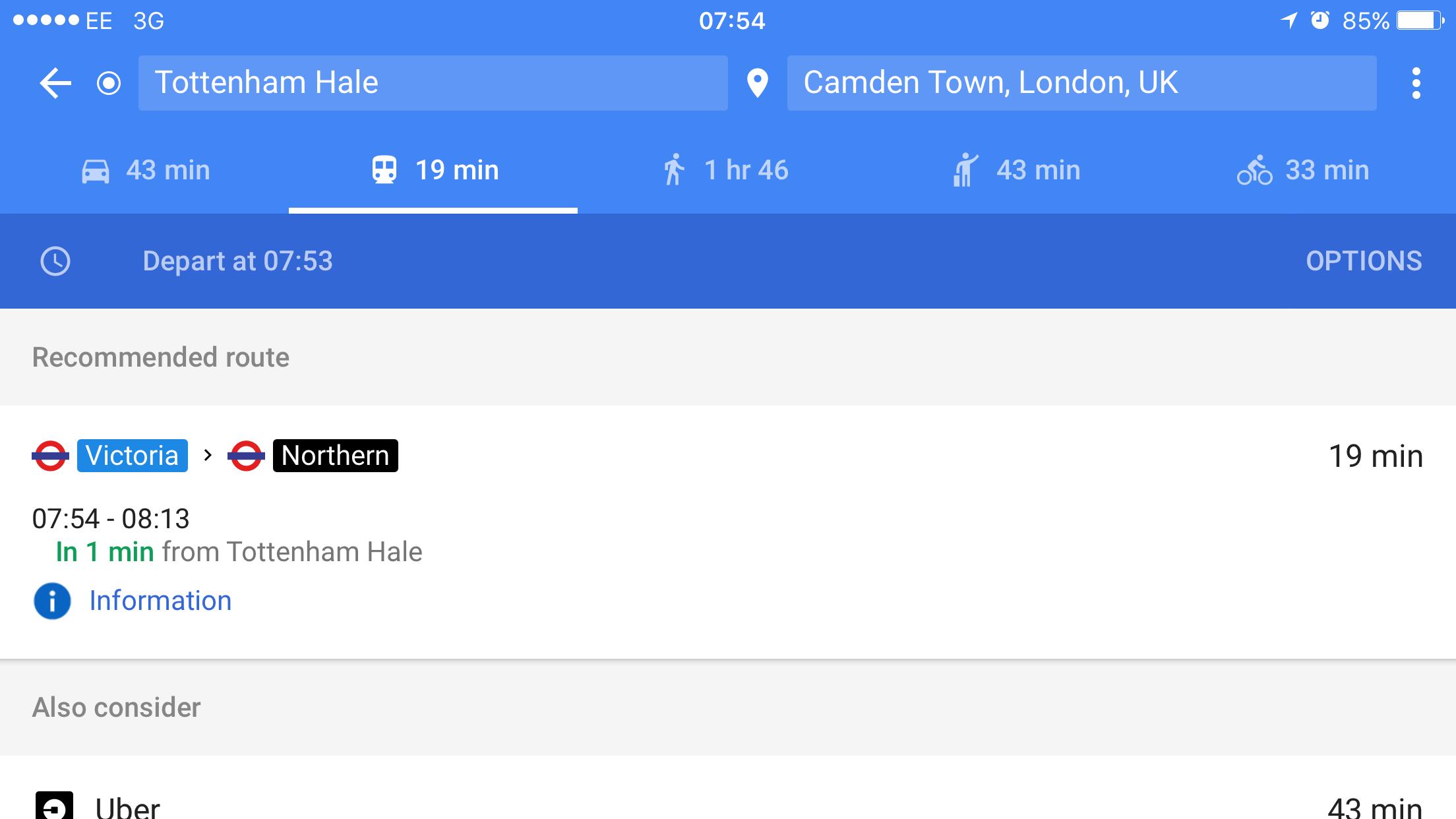 Google Maps tub journeys