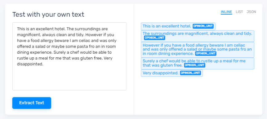 Splitting a hotel review into opinion units using MonkeyLearn's tool