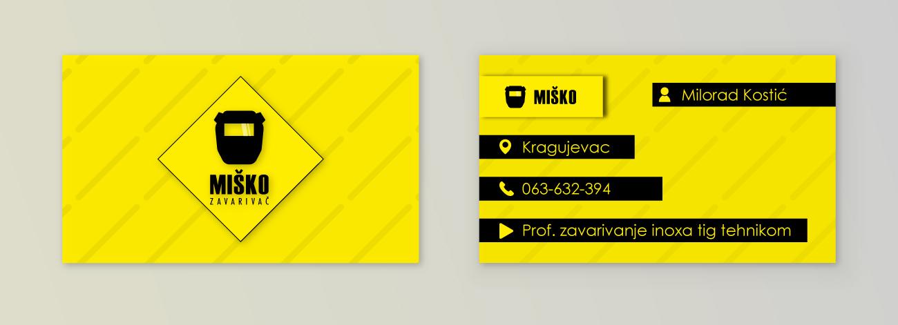 Misko Zavarivac Business Card Design