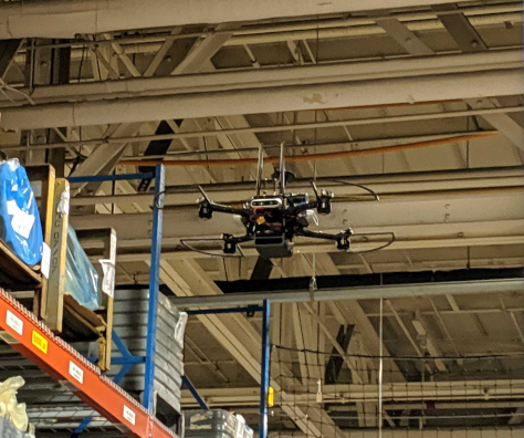 autonomous drone in warehouse
