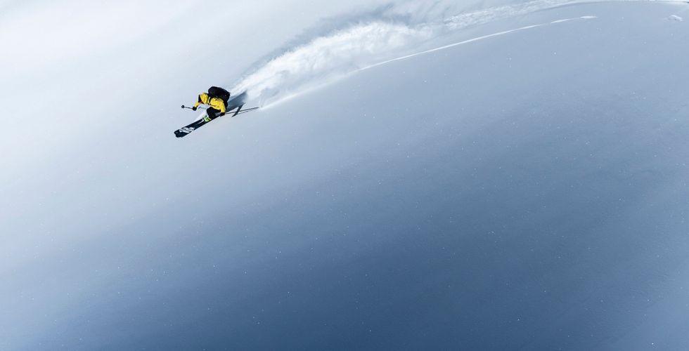 A man snowboarding in Goldwin gear