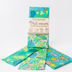 Meli Wraps | 3 Pack Reuseable Beeswax Wrap -- Hawaiiana Variety