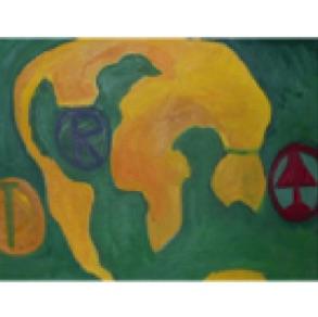 """Madis Kuningas, Estonia. """"Cloc-Boba 1–3"""" 2001. Canvas, oil, 42x59cm"""