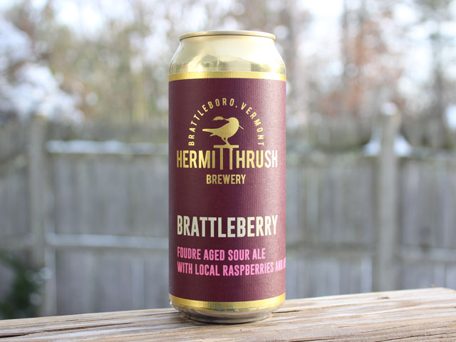 Brattleberry, a Foudre Aged Sour Ale with Local Raspberries brewed by Hermit Thrush Brewery