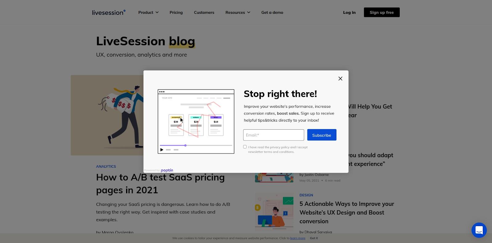 LiveSession Blog - screenshot - popup