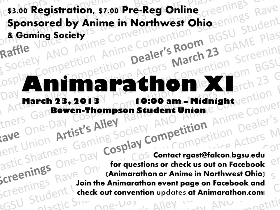 The flyer for Animarathon XI.
