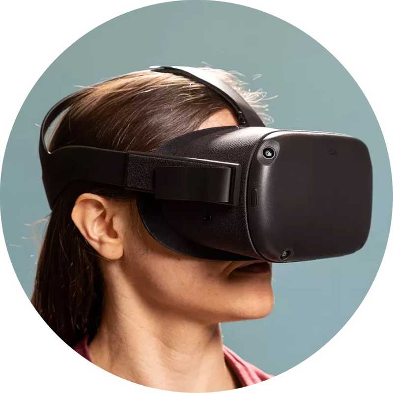 Headshot of woman wearing VR headset
