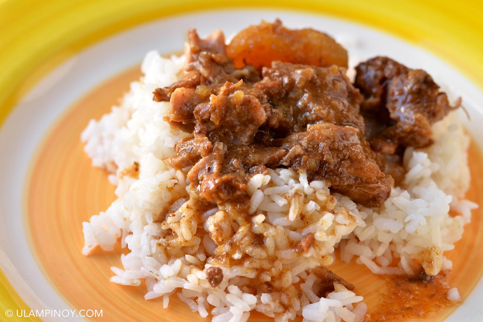 Delicious pork ribs adobo rice toppings