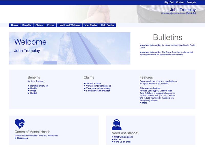 Insurance company secure client portal