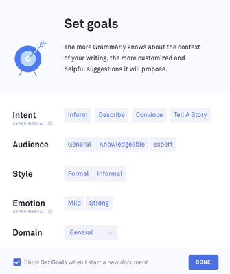 Screenshot to your chosen writing style in Grammarly