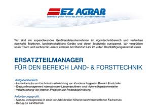 ERSATZTEILMANAGER FÜR DEN BEREICH LAND- & FORSTTECHNIK