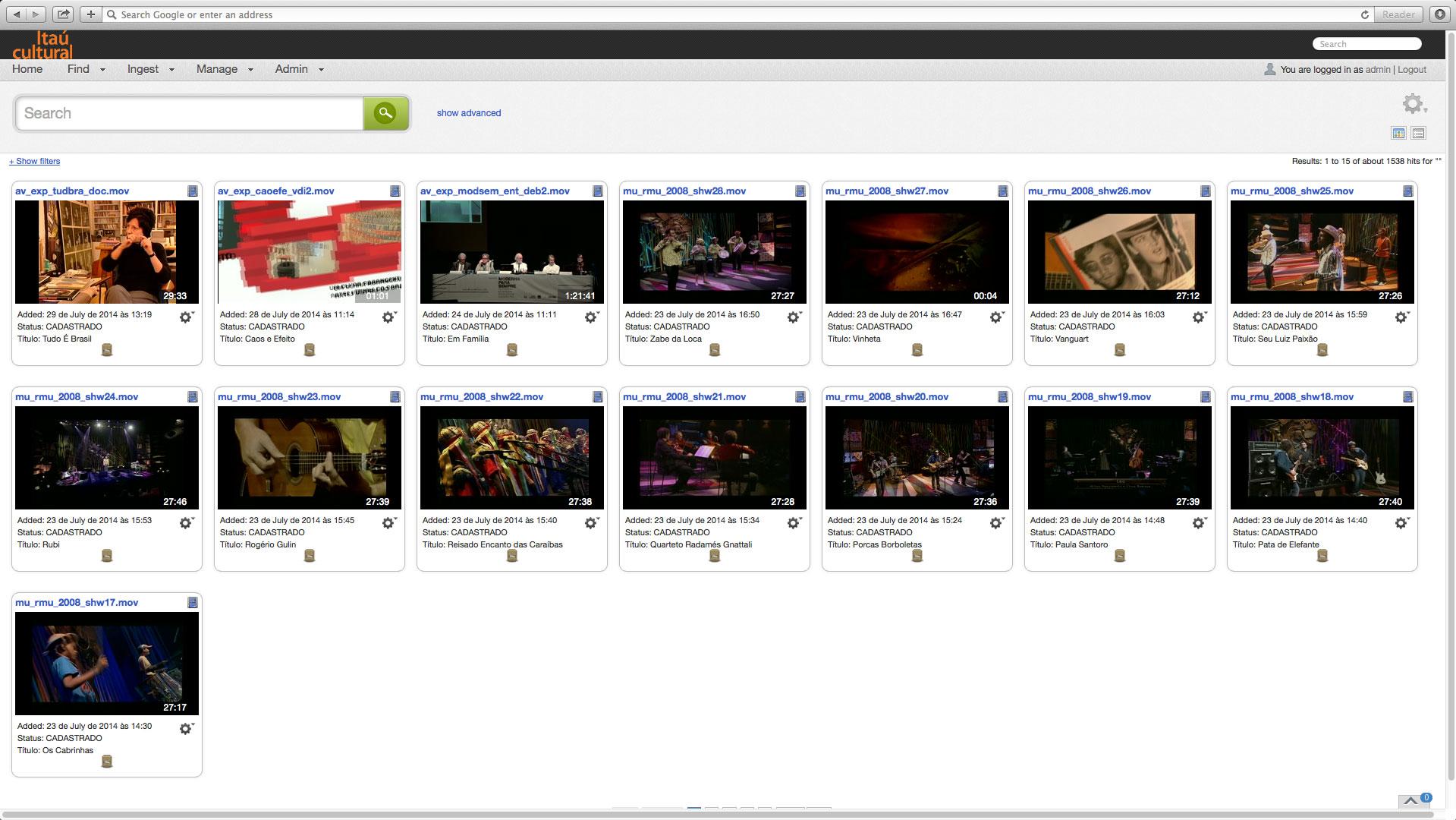 Itaú Cultural Cantemo Portal System screenshot
