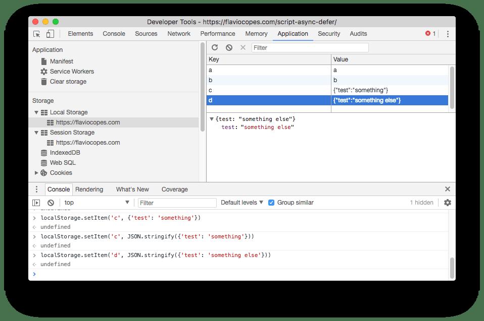 Chrome DevTools local storage