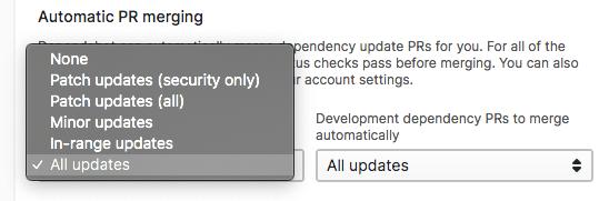 Dependabot Automatic PR merging settings