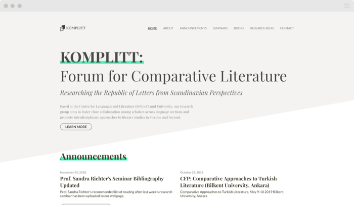 Custom website University Research Group 2