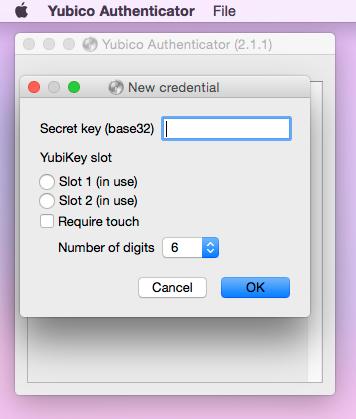 YubiKey new credential