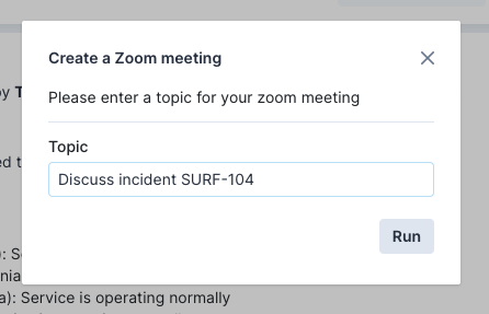 Transposit UI model showing the title, Create a Zoom meeting, with text input for topic name