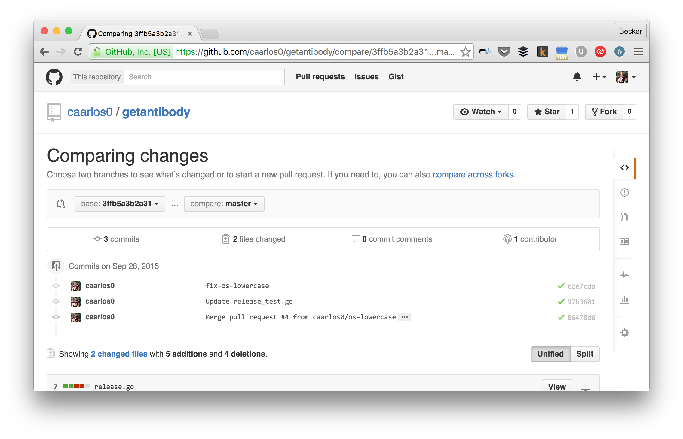 comparing changes on github screenshot