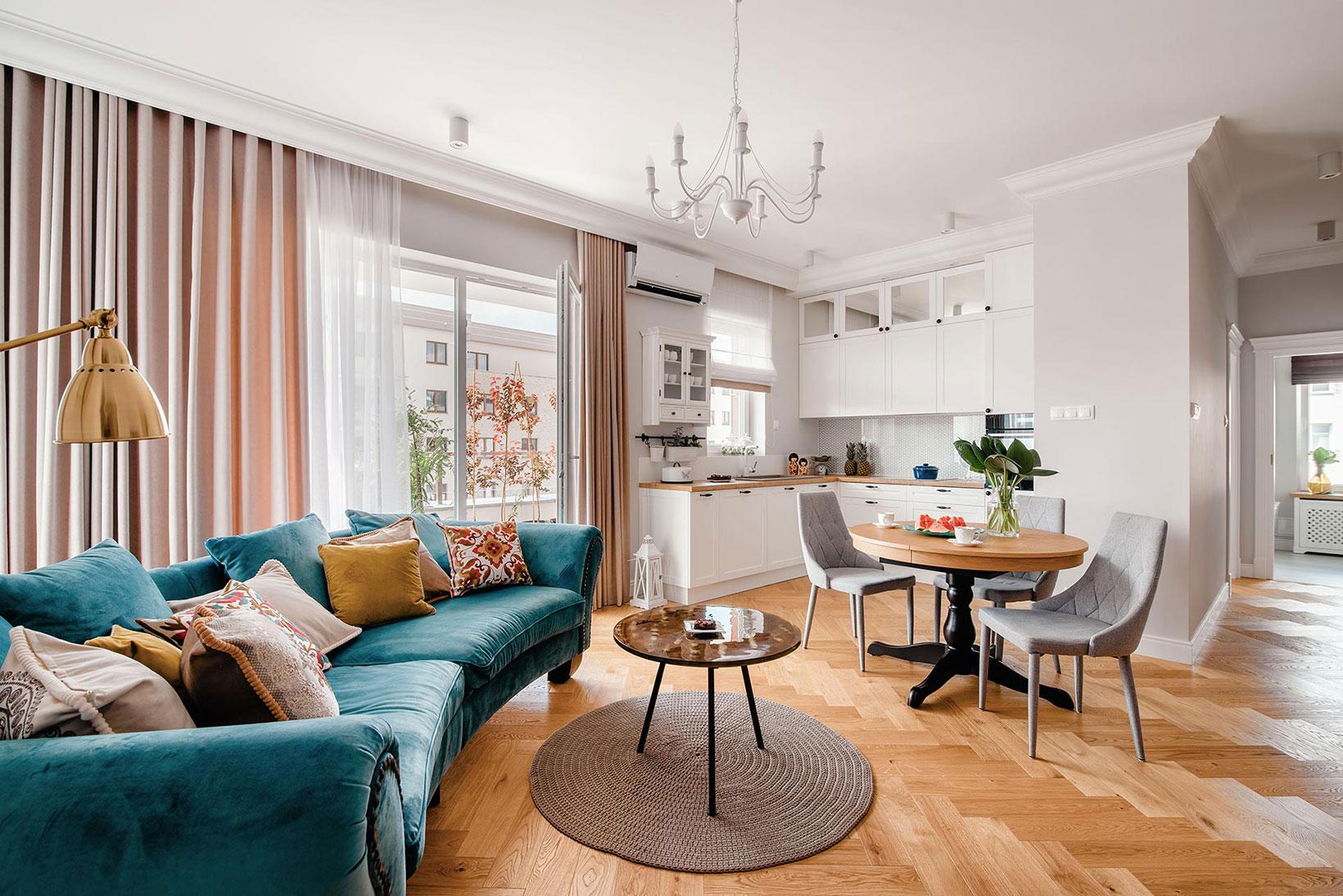 Projekt wnętrza pokoju dziennego, mieszkanie w Olsztynie, VProjekt
