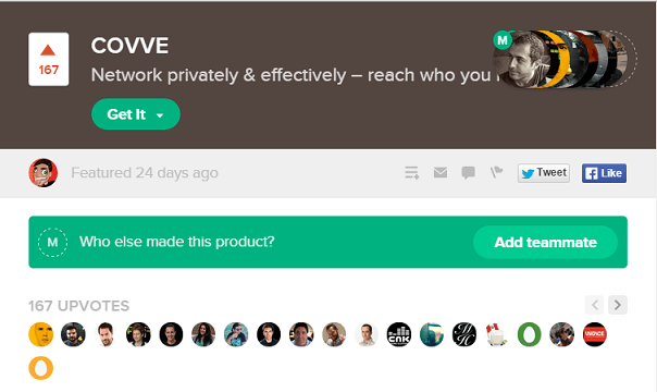 Covve featured on Product Hunt