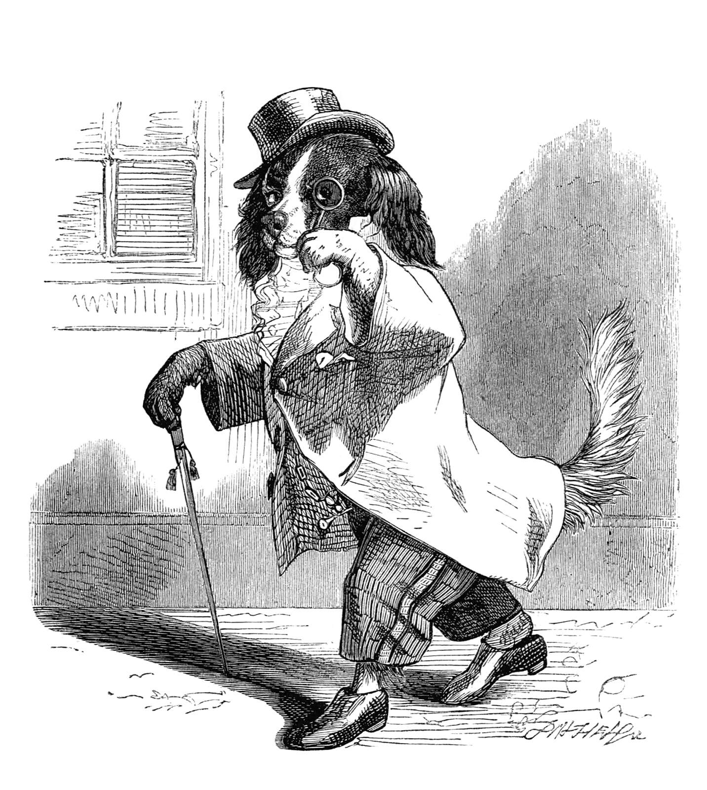A dog walks down a street with a monocle