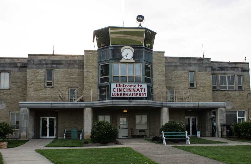 airport terminal with a sign reading 'welcome to cincinnati lunken airport