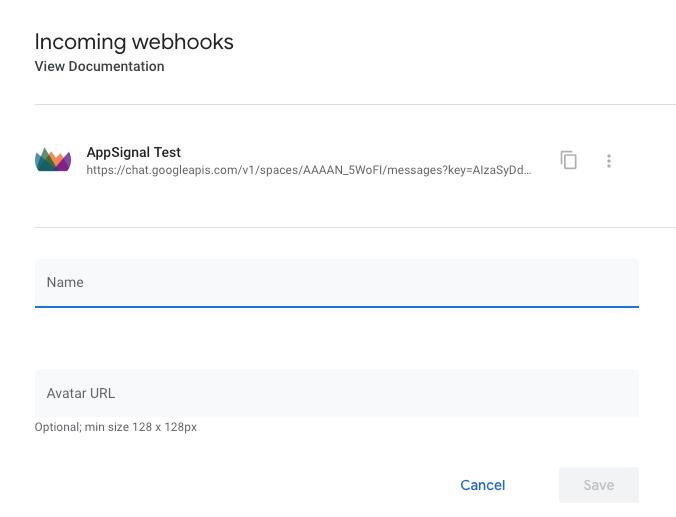 Configure Hangouts Webhook