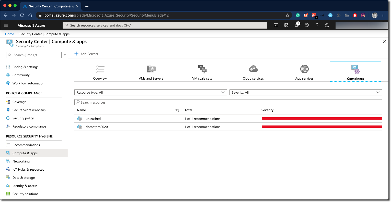 Azure Security Center - Container findings