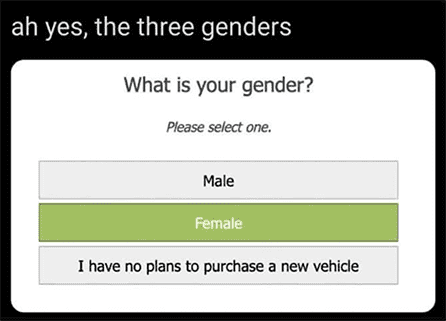 Gender: I have no plans to purchase a new vehicle