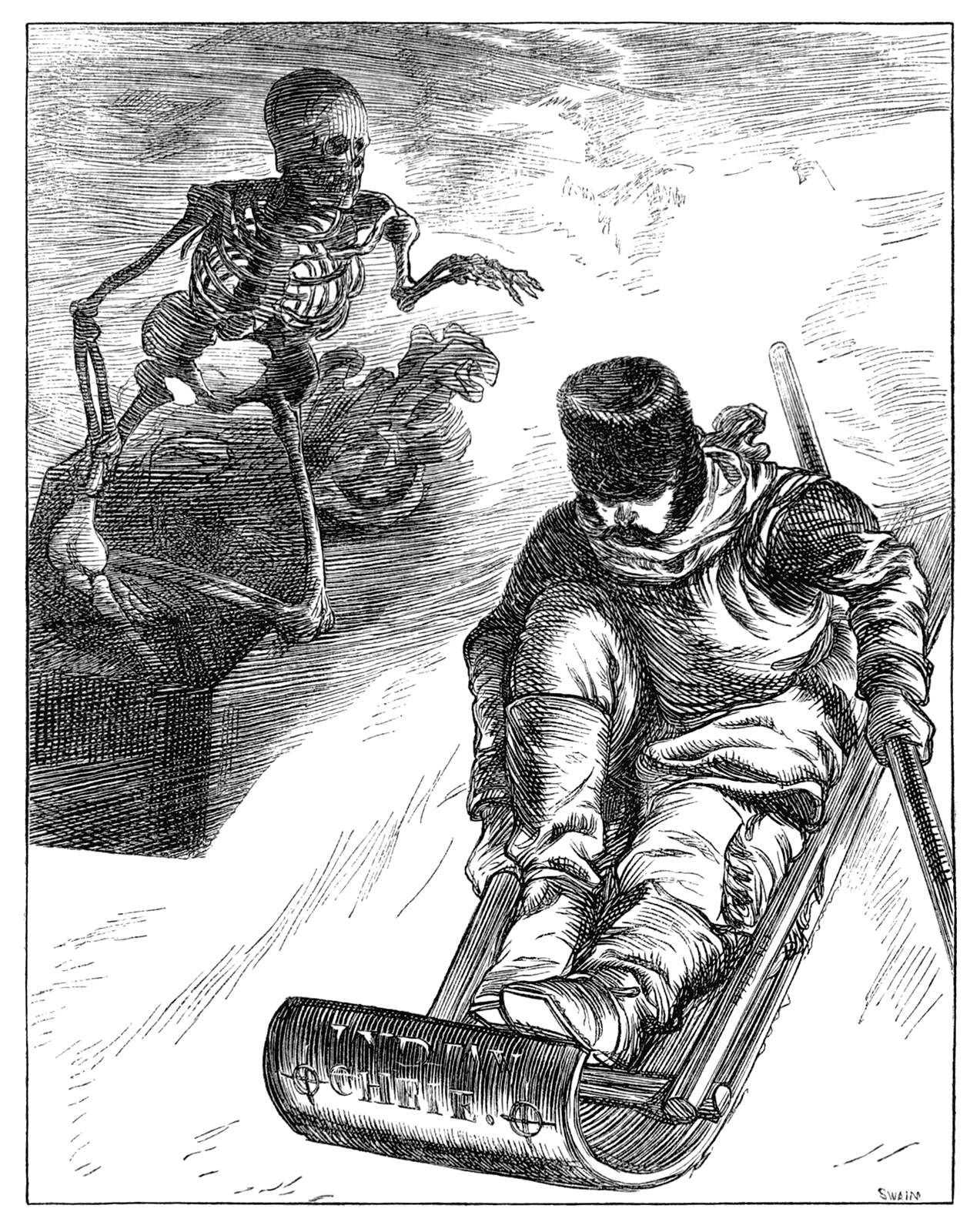 A skeleton pursues a man on a bobsled