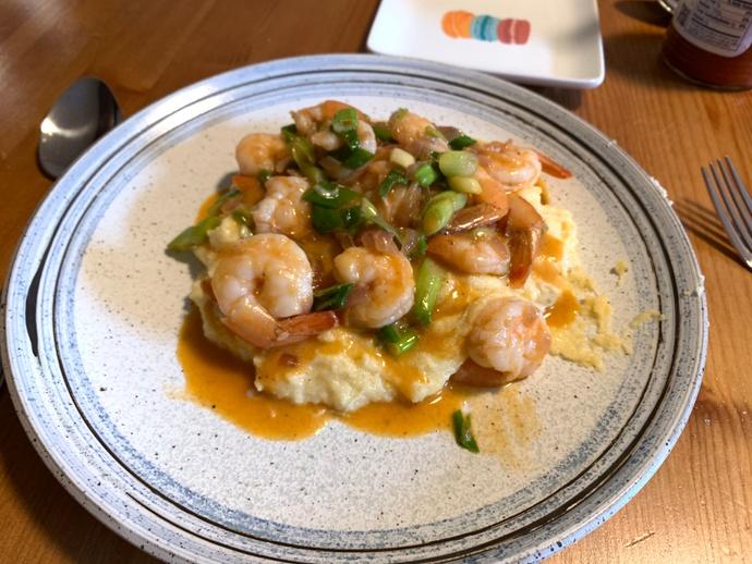 Finished shrimp & cheesy polenta